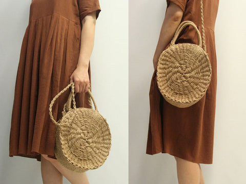 Circular Straw Shoulder Bag