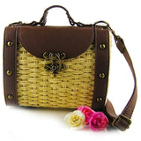 Womens Vintage Look Wicker Straw Handbag
