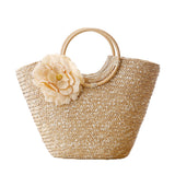 Woven Straw Totebag with Flowers by Coseey