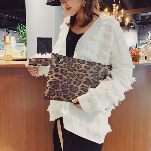 Womens Leopard Print Vegan Leather Clutch Envelope Bag