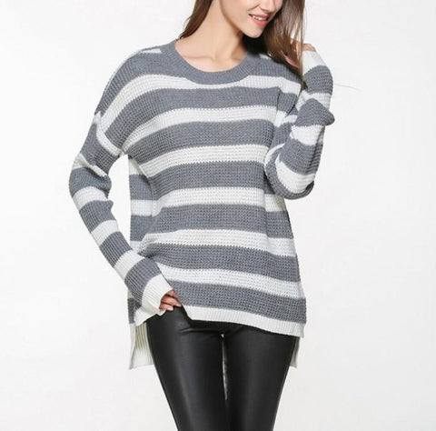 Womens Stripe Relaxed Fit Round Neck Sweater