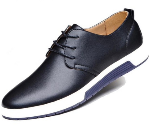 Mens Street Style Casual Leather Shoes in Black