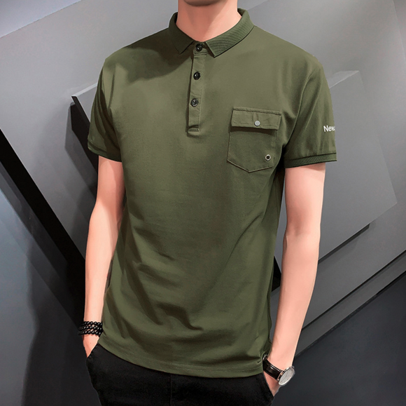 Mens Short Sleeve Polo Shirt with Pocket
