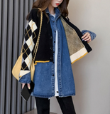 Womens Layered Look Cardigan with Denim Shirt Dress