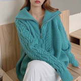 Women Half Zip Cable Knit Sweater