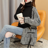 Womens Layered Look Houndstooth Sweater