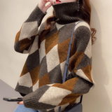 Womens Turtleneck Argyle Pattern Sweater