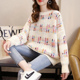 Womens Rainbow Chunky Knit Sweater