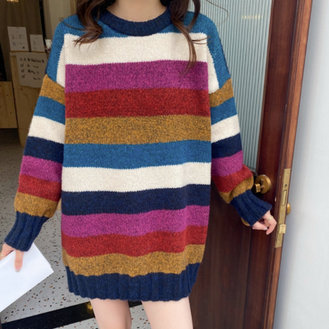 Womens Wide Striped Round Neck Sweater
