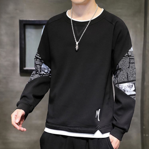 Mens Layered Look Sweatshirt with Elbow Prints