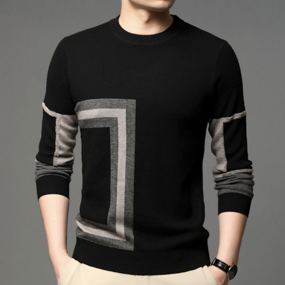 Mens Round Neck Knit Sweater with Prints