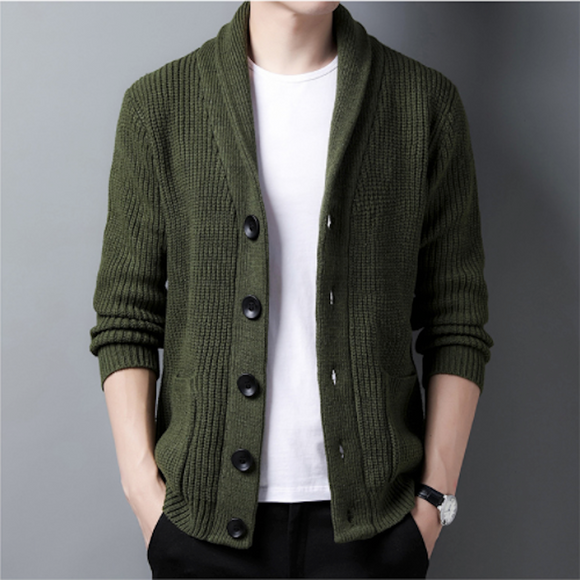 Mens Chunky Knit Cardigan With Shawl Collar