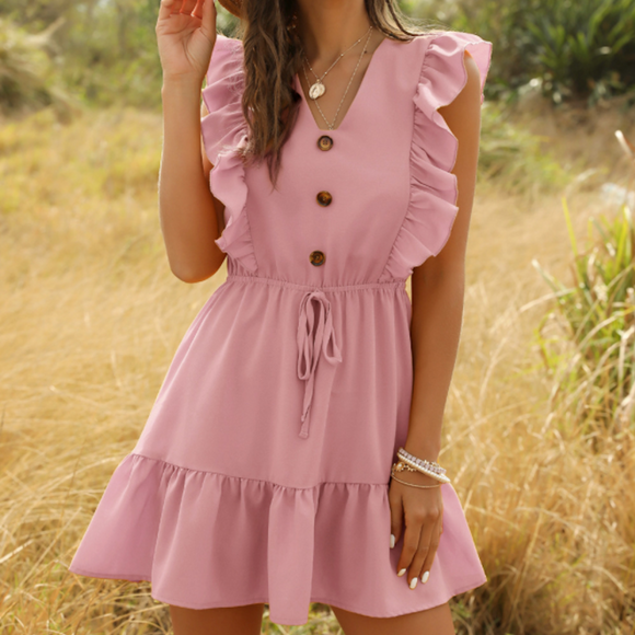 V-Neck Ruffle Dress with Button Details