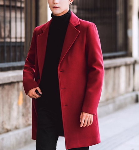 Mens Slim Fit Mid Length Overcoat in Red