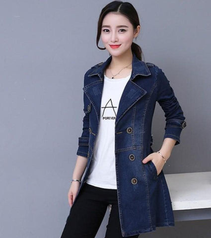 Womens Double Breasted Slim Fit Denim Jacket