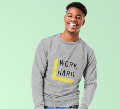 Mens Work Hard Inspirational Crewneck Sweatshirt