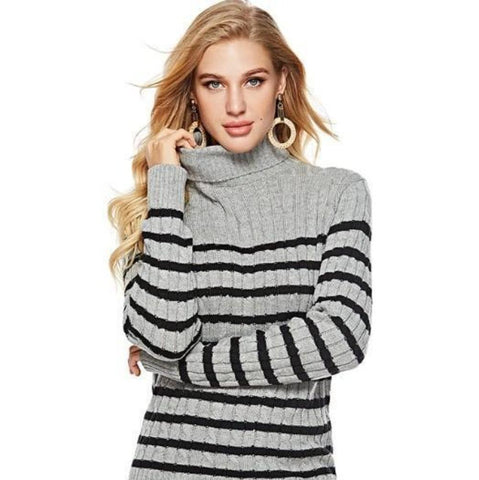 Womens Striped Slim Fit Turtle Neck Sweater