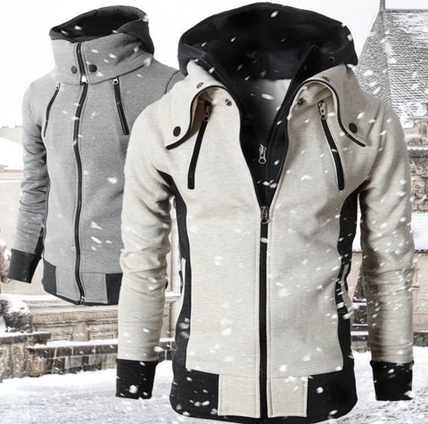 Mens High Collar Windproof Hoodie in Off White