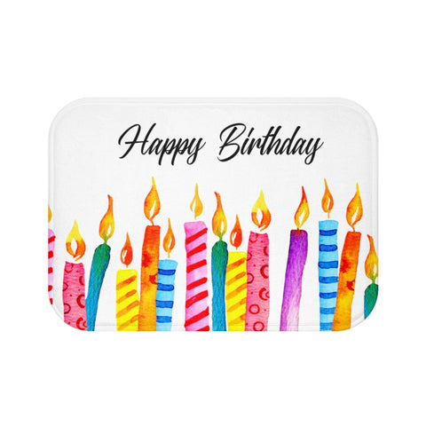 Happy Birthday Candles Bath Mat Decor Rug