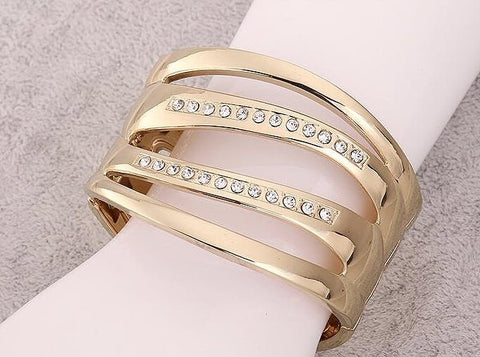 Gold Plated Fashion Bangle with Crystal