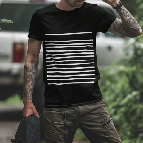 Mens T-Shirt with Lines in Black