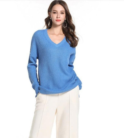 Womens Street Style V Neck Sweater