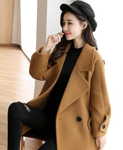 Womens Classic Double Breasted Pea Coat