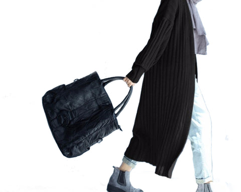 Womens Long Casual Street Style Cardigan in Black