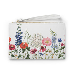 Floral Designed Zipped Clutch Bag