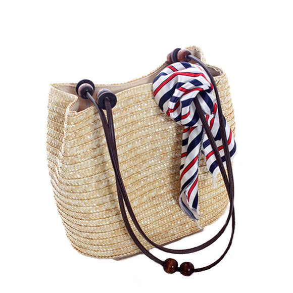 Straw Tote with Wooden Beads