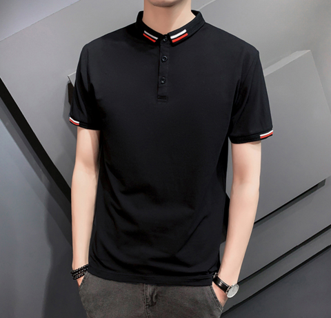 Mens Short Sleeve Polo Shirt with Collar Details