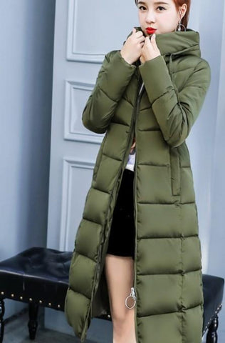 Womens Puffer Hooded Long Coat in Army Green