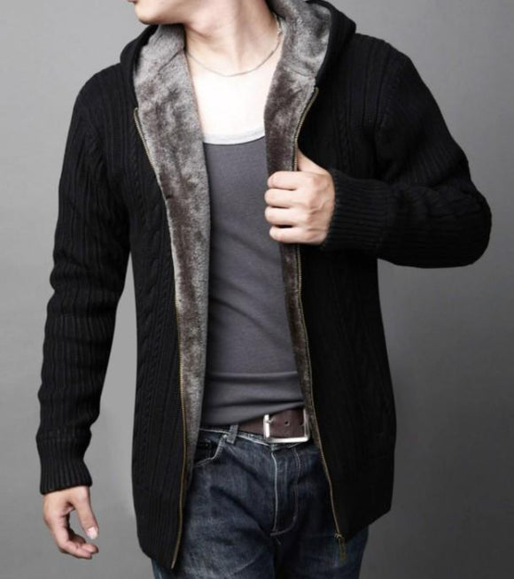 Mens Hooded Cardigan with Inner Layered