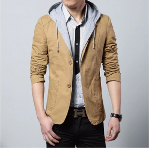 Mens Street Style Hooded Blazer in Khaki