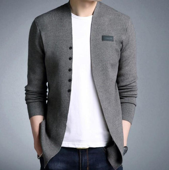 Mens Slim Fit Cardigan with Button Design