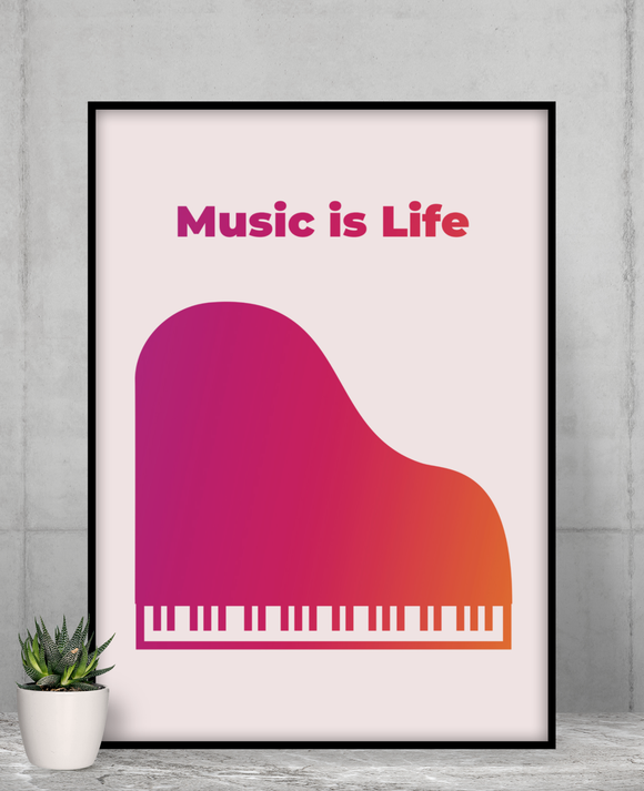 Music is Life Poster Room Decor