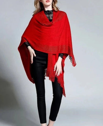 Womens Elegant Poncho Cape with Fringes