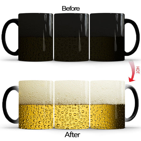 Magical Color Changing Heat Sensitive Beer Theme Ceramic Mug