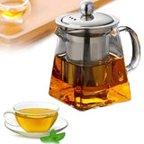 Heat Resistant Glass Tea Pot with Stainless Steel Filter Basket