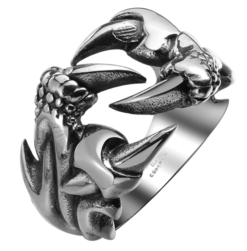 Mens Stainless Steel Biker Style Dragon Claw Ring