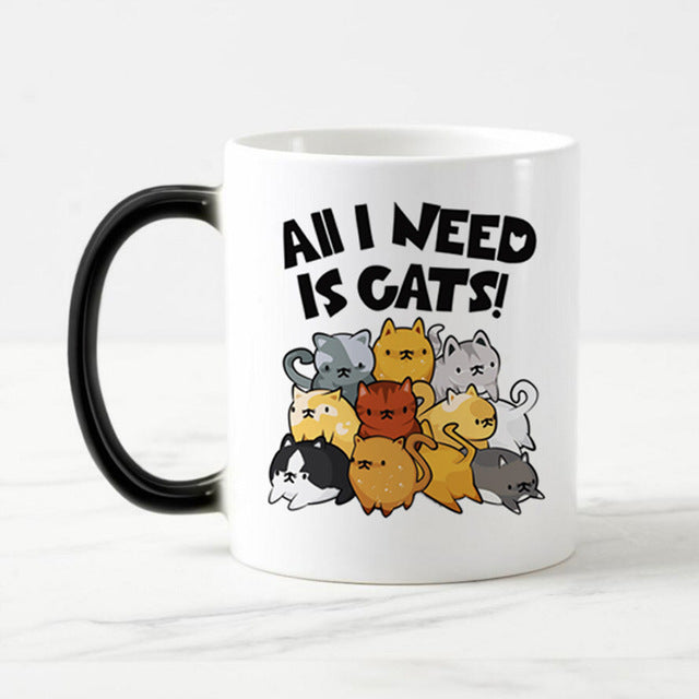 Cat Lovers Heat Sensitive Color Changing Ceramic Coffee Mug