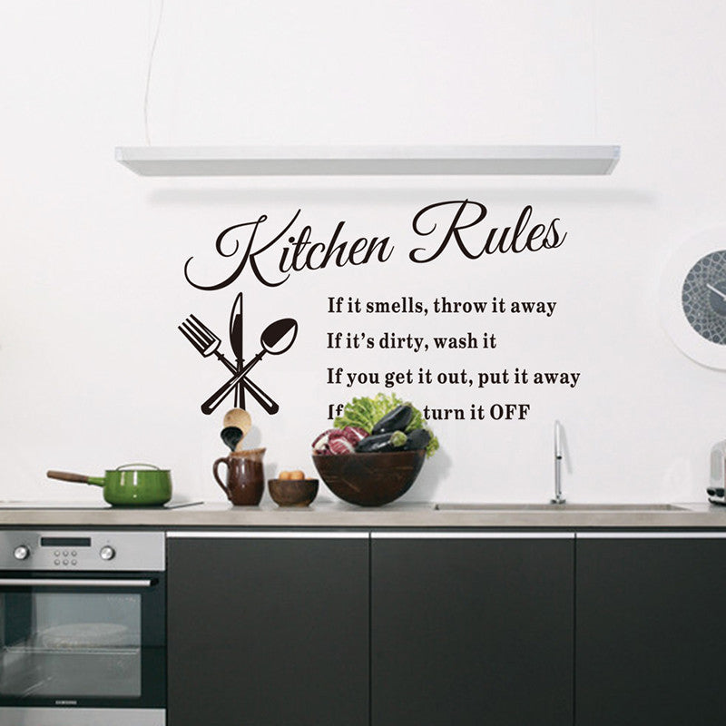Removable Wall Stickers for Kitchen with  Kitchen Rules Design 3 stickers pack