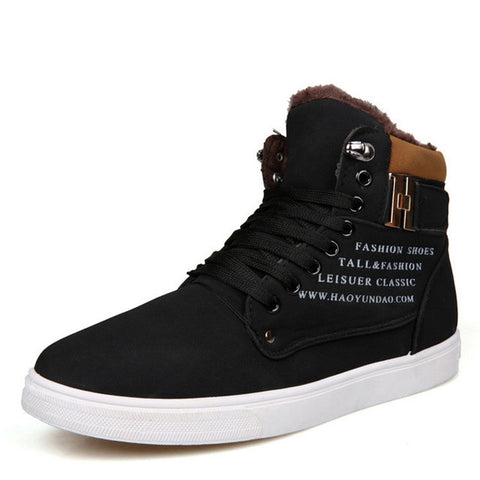 Mens Black Lace Up Sneaker Boots