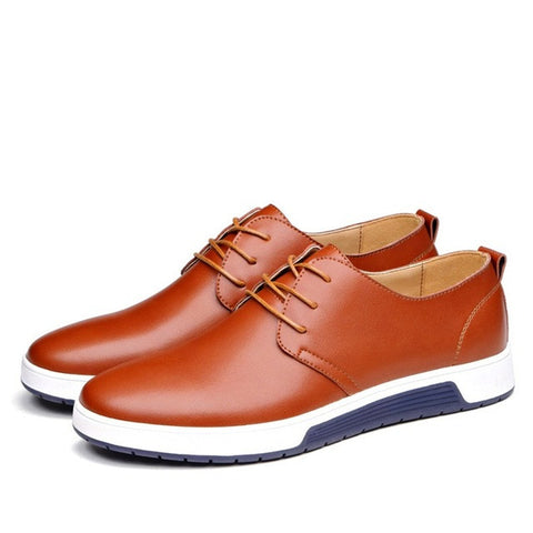 Mens Casual Daily Lace up Leather Shoes