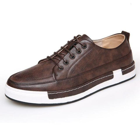Mens Casual Breathable Vegan Leather Lace Up Shoes