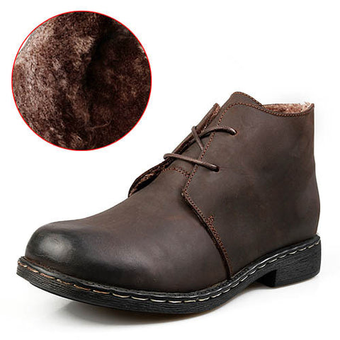 Mens Classic  Casual Ankle Leather Boots