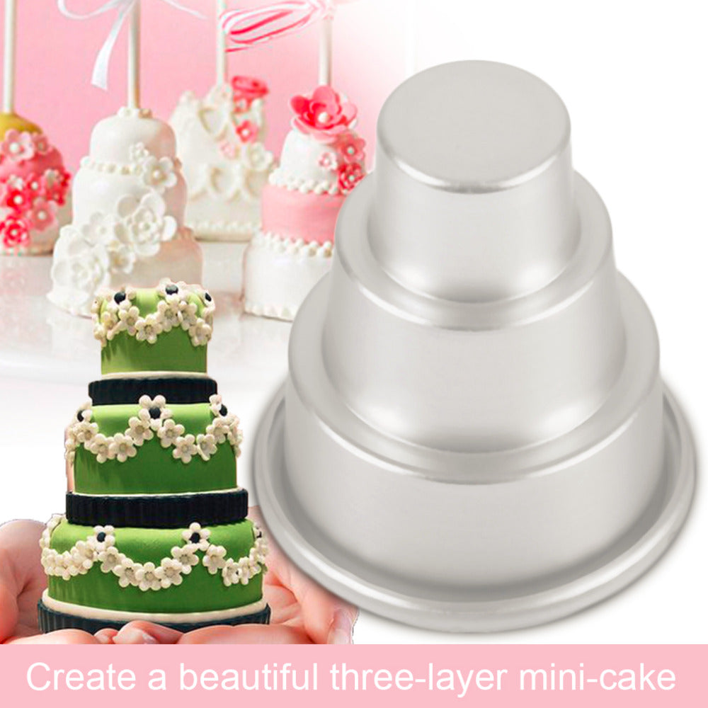 Mini 3-Tier Cupcake Pudding Chocolate Cake Mold Baking Pan  2 Sizes