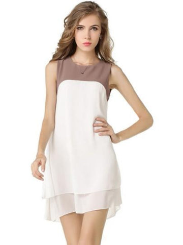Sleeveless Summer Chiffon One Piece Layered Dress