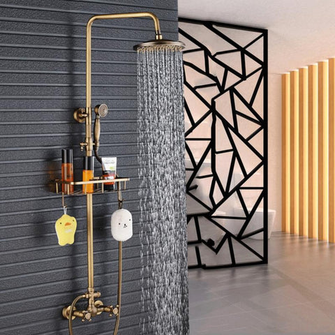 "Dual Handle  Antique Brass Bathroom 8"" Rainfall Shower Faucet with Storage Holder"