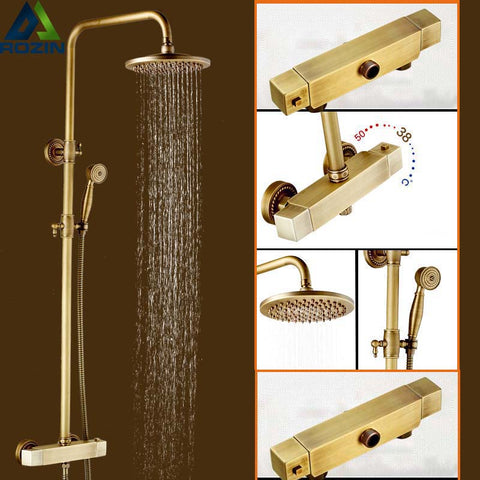 "Antique Design Brass 8"" Rainfall Faucet with Temperature Control Handle"